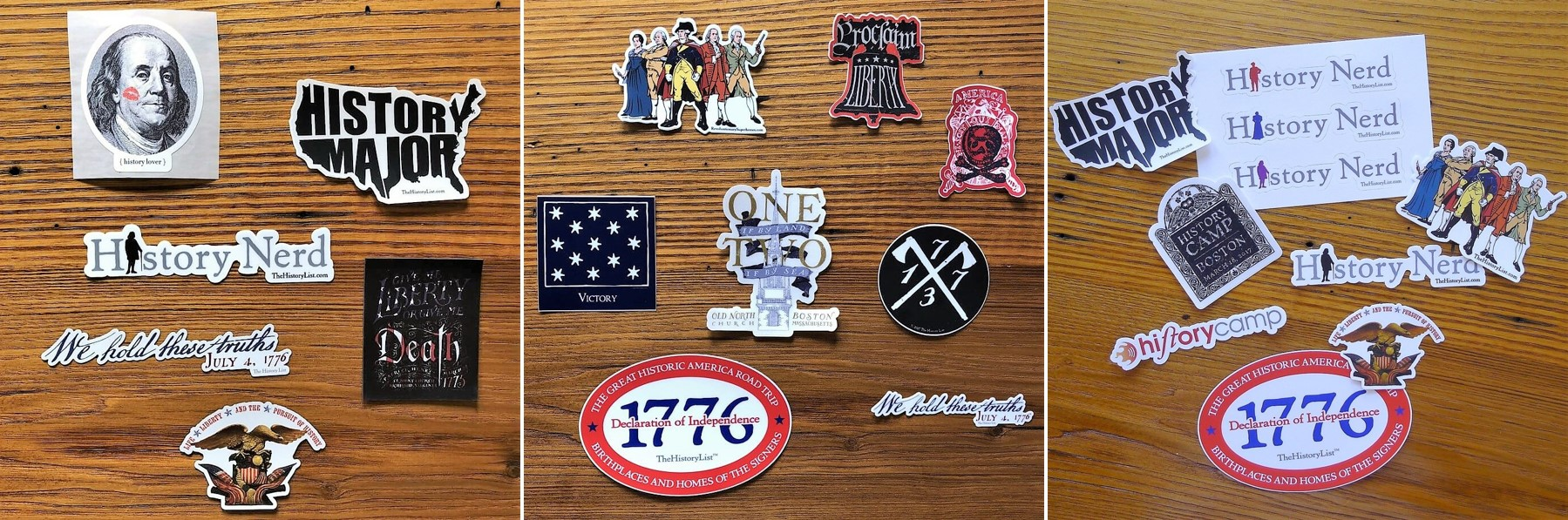 History nerd stickers and magnets